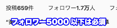 フォロワー5000以上は必須